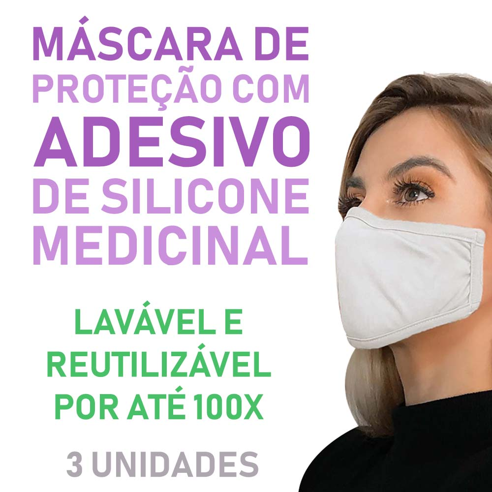 Polisani Materiais Médicos - MÁSCARA DE PROTEÇÃO ADESIVA BRANCA C/3