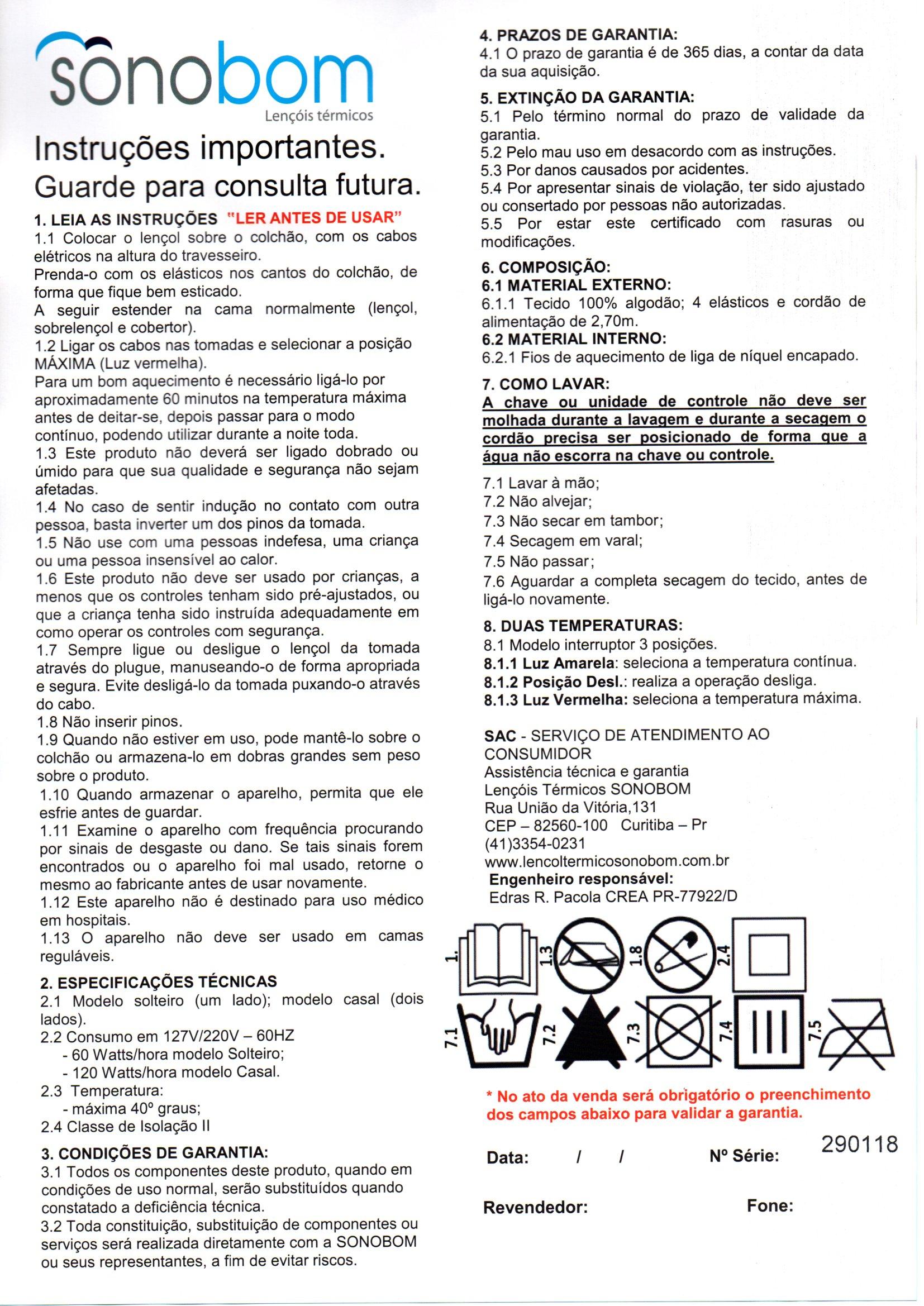 Polisani Materiais Médicos - LENCOL TERMICO CASAL 1,35X1,50  220V SONOBOM