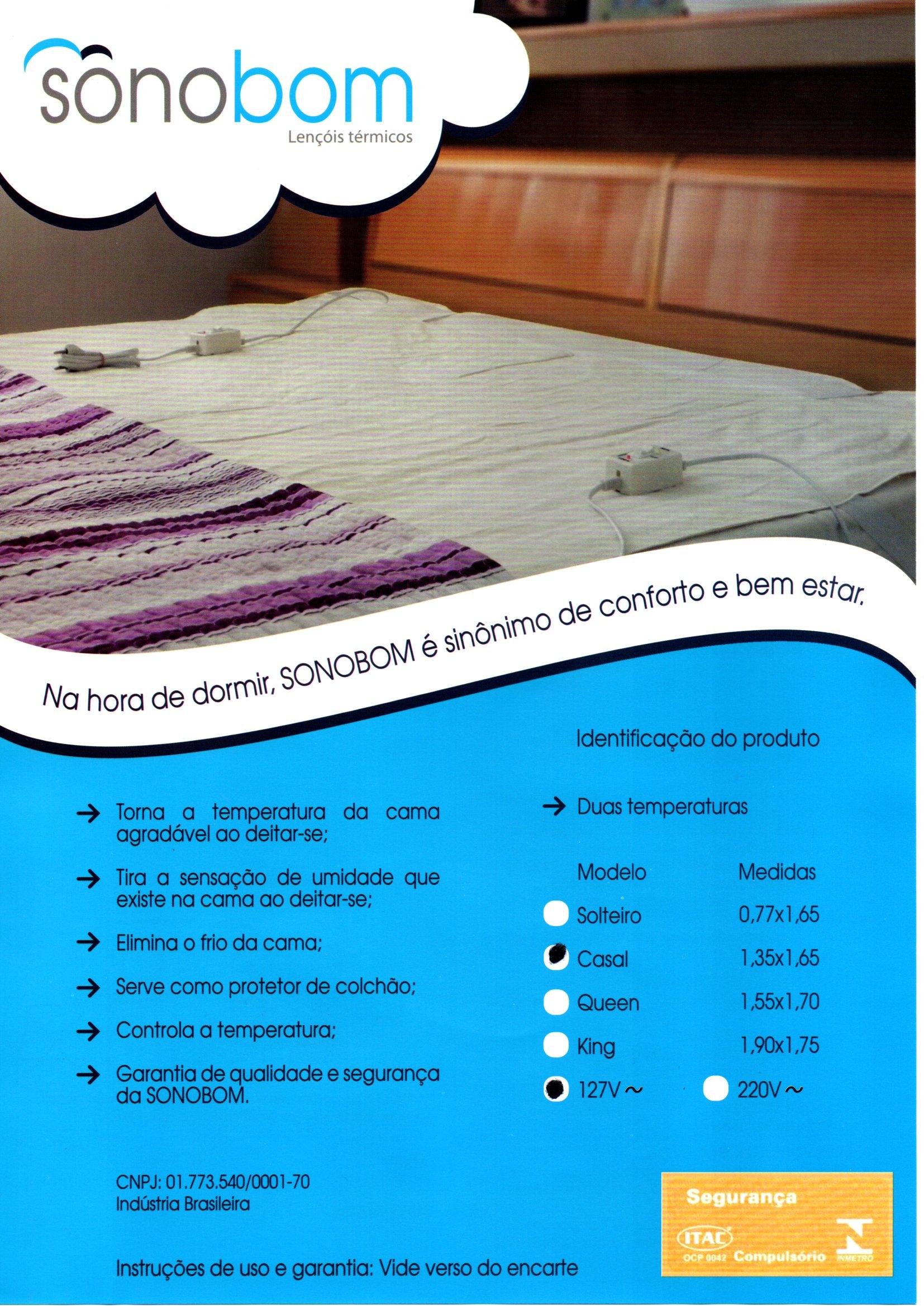Polisani Materiais Médicos - LENCOL TERMICO KINGSIZE 1,70X1,90 220V SONOBOM